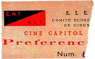 Confederación Nacional del Trabajo - Movie ticket for a theatre managed by the CNT