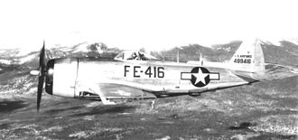 Bangor Air National Guard Base -  37th Fighter Squadron Republic F-47N-25-RE Thunderbolt, AF Ser. No. 44-89416, Dow AFB, 1948. This aircraft was part of the Last Thunderbolt production block manufactured at Farmingdale, New York.