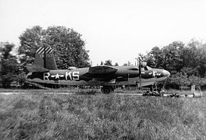 "Maupertus-sur-Mer Airfield - A B-26 Marauder (KS-R, serial number 41-31707) nicknamed ""Five By Fives"" of the 557th Bomb Squadron, 387th Bomb Group."