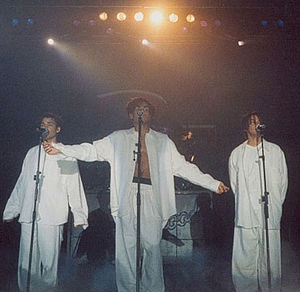 "3T - 3T singing ""I Need You"" during their concert in Hannover, Germany (Brotherhood Tour 1996)."