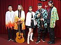 5 people standing on the stage with Demon Slayer cosplay clothing 20210321c.jpg