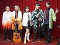 5 people standing on the stage with Demon Slayer cosplay clothing 20210321d.jpg