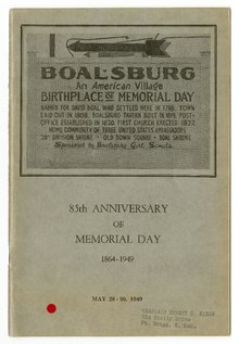 A pamphlet in honor of Memorial Day.