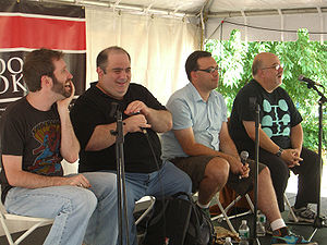 Peter David - David (at far right) on a panel on comic book writing at the 2009 Brooklyn Book Festival. Beside him (left to right) are Jim McCann, Dan Slott and Fred Van Lente.