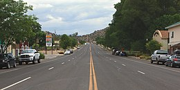A417, Escalante, Utah, USA, Utah State Route 12, Main Street at Center Street, looking west, 2016.jpg
