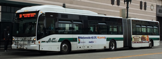 AC Transit #2152, Van Hool AG300 articulated in white with updated 2003 stripe livery (2012)