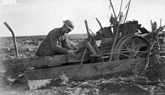 Battle of Broodseinde - German artillery piece captured by the Australian 45th Battalion