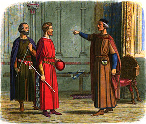 "Roger Bigod, 5th Earl of Norfolk - A modern depiction showing King Edward I threatening Roger Bigod, 5th Earl of Norfolk, to comply with his orders: ""You shall either go, or hang!"""