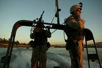 Governor's Guards (Florida) - Infantrymen on a river patrol in Baghdad.