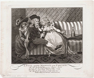 Second Thoughts Are Best - A Fool and His Money Soon Parted (1790) by Cruikshank, Isaac, 1756?–1811?, printmaker
