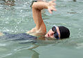 A competitor in the Headquarters Battalion Sprint Triathlon competes in the swimming segment at Marine Corps Base Hawaii in Honolulu May 8, 2010 100508-M-KL398-001.jpg
