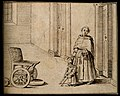 A crippled dwarf being helped to a wheelchair by a monk. Pen Wellcome V0007431.jpg