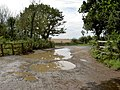 A flooded Kings Wood car park entrance - geograph.org.uk - 920473.jpg