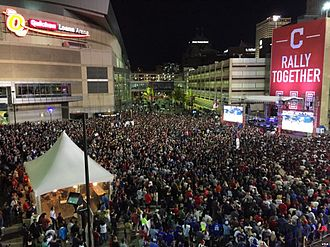 Gateway Sports and Entertainment Complex - Fans fill Gateway Plaza during game seven of the 2016 World Series