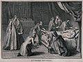 A priest administering extreme unction to a dying man in a b Wellcome V0042339.jpg