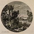 A ruined landscape with a hunting scene in the background; r Wellcome V0007615.jpg