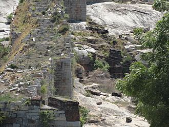 Chandragiri Fort, Andhra Pradesh - A wall of the fort on the steep hill