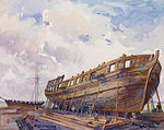 A watercolour of the construction of HMS Isaac Brock.jpg
