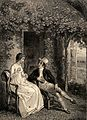 A young couple sit talking in a garden. Engraving by C. Heat Wellcome V0039003.jpg