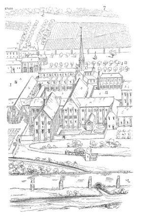 Cîteaux Abbey - 16th-century perspective view of the abbey (engraving)