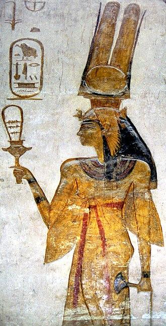 Sistrum - Nefertari, wife of Ramesses II, holding a sistrum