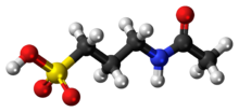 Ball-and-stick model of the acamprosate molecule