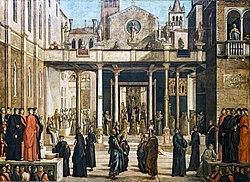 Accademia - Offerta della reliquia della Croce ai confratelli della Scuola di San Giovanni Evangelista di Lazzaro Bastiani.jpg