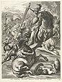 Achilles verslaat de Trojanen intocht van Ferdinand te Gent in 1635 Et tanta gessit bella dvm bellvm parat (titel op object), RP-P-OB-50.133.jpg