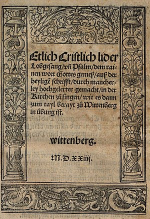 Lutheran hymn - Front page of the Achtliederbuch (1524), known as the first Lutheran hymnal