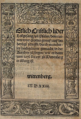 First Lutheran hymnal - Title page of the first Lutheran hymnal of eight hymns (songs)