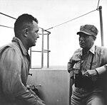 Admiral Radford and Commander Vorse on USS Ticonderoga (CV-14) on 6 November 1944.jpg