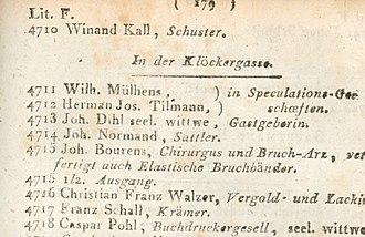 Wilhelm Mülhens - 3rd Cologne Address Book 1797, Page 179: Wilhelm Mülhens in Klöckergasse