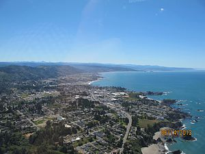 Brookings, Oregon - An aerial view of Brookings, Oregon and its coastline