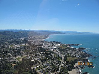 Brookings, Oregon - An aerial view of Brookings, Oregon and its coastline