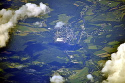 Aerial view of Greene from the south, 2013. The Chenango River can be seen running roughly north-south in the eastern part of town.