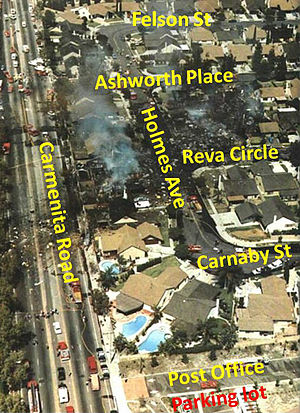 1986 Cerritos mid-air collision - An annotated aerial view of the Aeroméxico DC-9 crash site