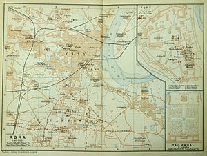 Agra - Map of the city, ca 1914
