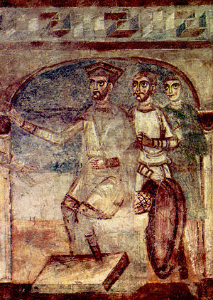 Cantù - Detail from the life of St Christopher (c.1000), from the nave of the Basilica of Galliano.