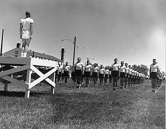 United States Air Force Academy - Cadets from the first USAFA class lined up for physical training at Lowry AFB in 1955