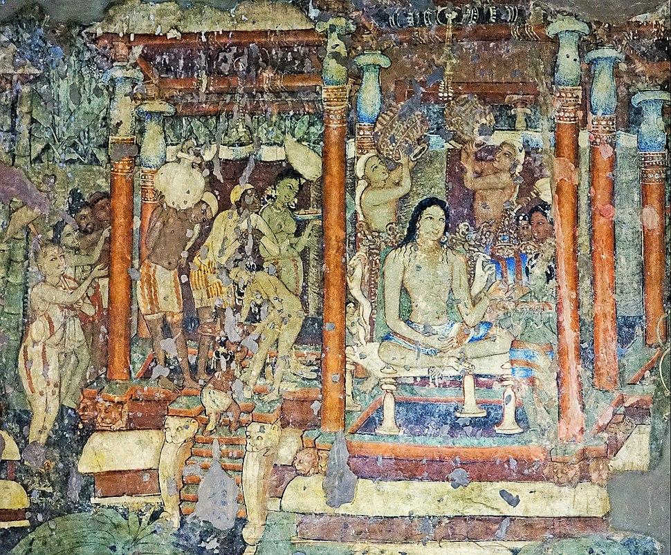 Ajanta Cave 1 Mahajanaka Jataka mural detail