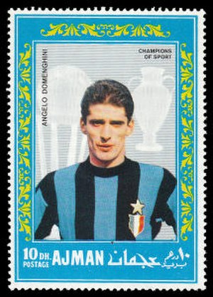 Angelo Domenghini - Domenghini with Inter Milan on a 1968 Ajman stamp