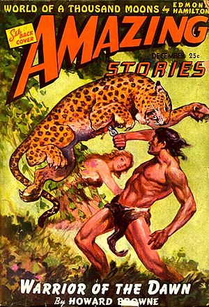 "Howard Browne - The first installment of Browne's ""Warrior of the Dawn"" was cover-featured in the December 1942 issue of Amazing Stories"