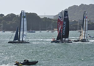 The Artemis Racing yacht leading the America's...