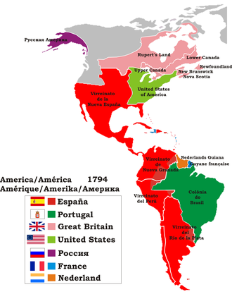 European colonization of the Americas - Political map of the Americas in 1794