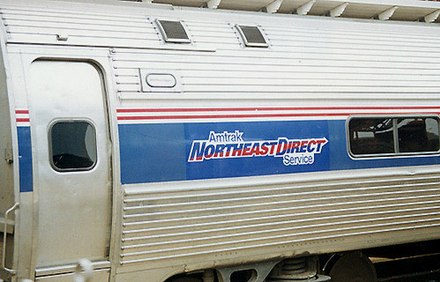 The NortheastDirect branding was used for most Northeast Regional services between 1995 and 2003 Amtrak NortheastDirect train at Wilmington, 1990s.jpg