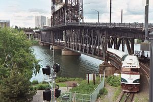 Steel Bridge - An Amtrak ''Cascades'' train crossing the bridge