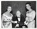 An unidentified woman, Mayor John F. Collins, and Mary Collins hold a plaque (12306235455).jpg