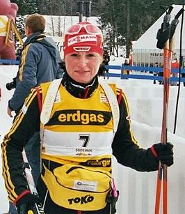 Andrea Henkel bij de worldcup in Antholz 2006