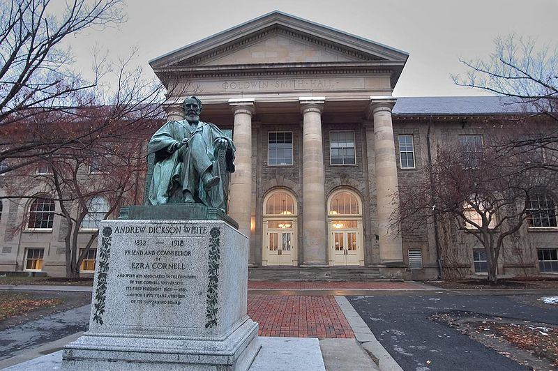 File:Andrew Dickson White statue and Goldwin Smith Hall.jpg