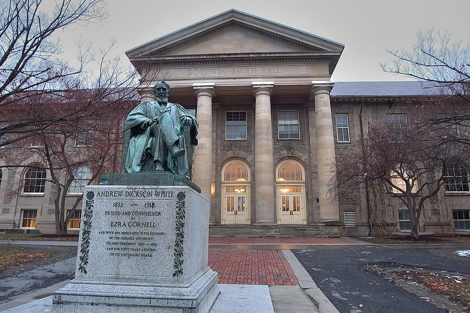 Andrew Dickson White statue and Goldwin Smith Hall